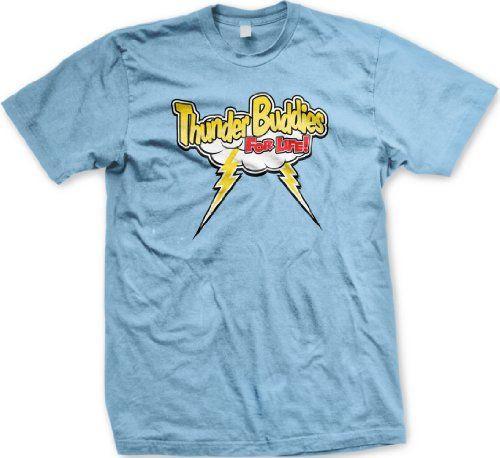 Thunder Buddies For Life! Mens T-shirt Hot Trendy Movie Design Thunder Buddies Mens Tee Shirt Medium Lt-Blue