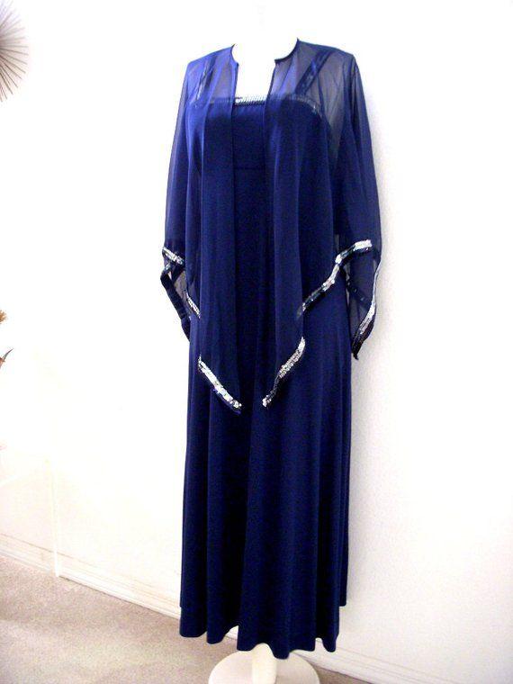 83646376ca744 70s Navy Blue Maxi Dress with Chiffon Cape - Vintage Dark Blue Prom Dress w  Sequin Chiffon Cape - Long Evening Dress - Size Small
