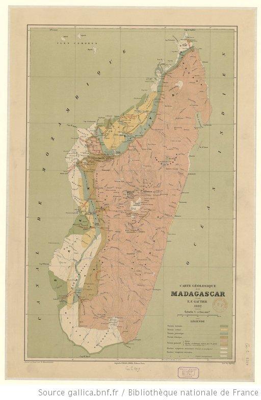 Madagascar (Géologie). - Carte géologique de Madagascar / par E.-F. Gautier, 1902