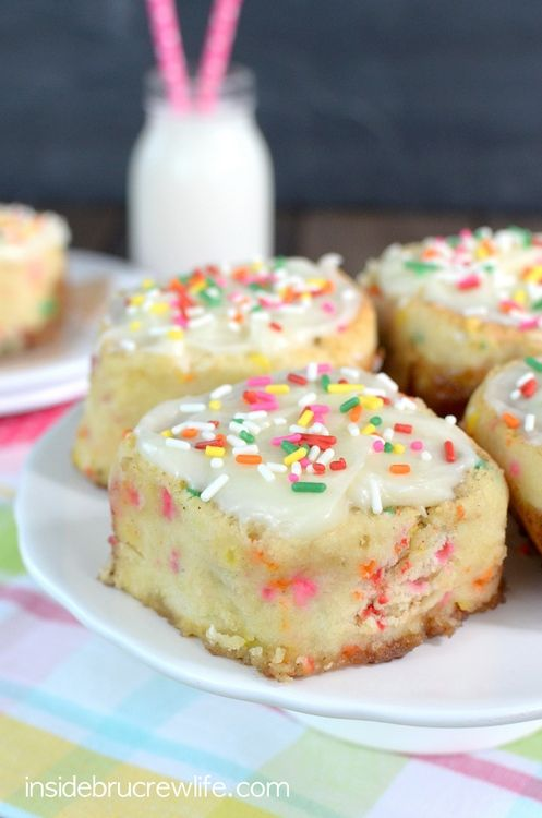 Easy no yeast cinnamon rolls made with sprinkles and topped with cream cheese frosting and more funfetti sprinkles