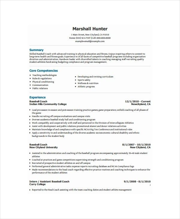 Coach Resume Template 8 Free Word Pdf Document Downloads Resume Template Resume Coach Good Resume Examples