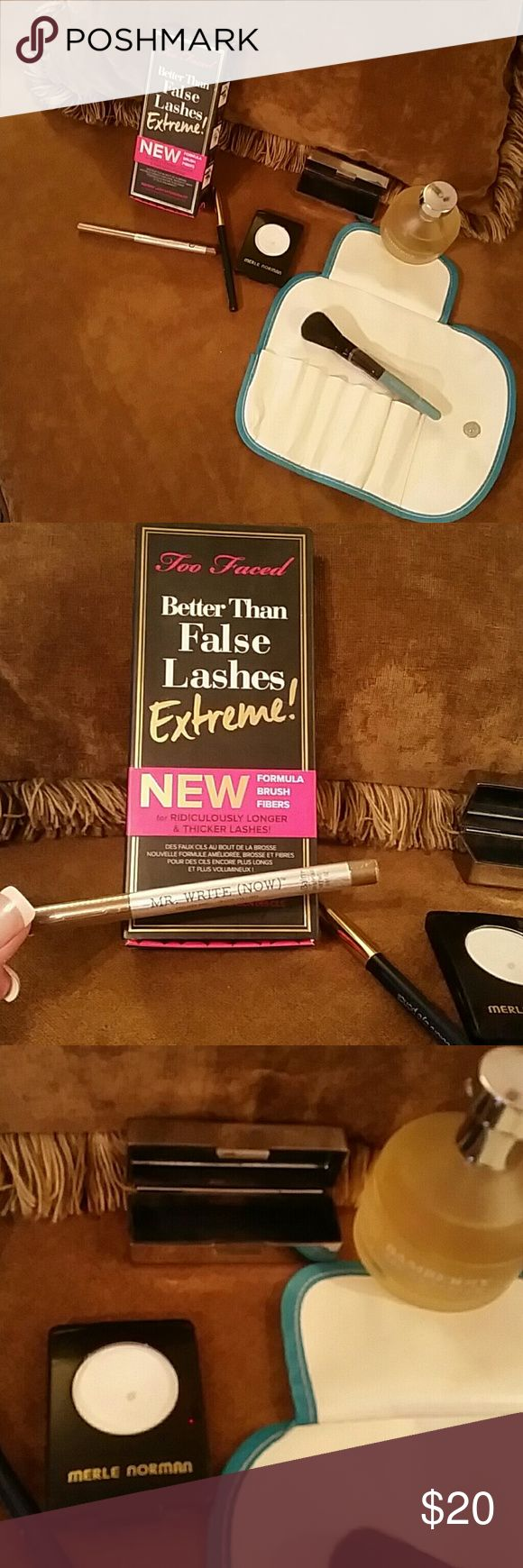 HIGH END MAKE UP BUNDLE!  👄 😘 😘 THIS MAKEUP BUNDLE IS FAB AND THEN SOME! 👄 INCLUDES TWO-FACED LASH EXTENSIONS,  have NEVER BEEN USED! It was a gift and I did not like the way the fibers looked, compared to what I usually use. Also MR. WRITE (NOW) never opened eyeliner as well as a silver lipstick case with mirror, MERLE NORMAN, Gardenia,  eyeshadow used very little and a 7 piece make up brush holder including the face brush! As well as a knockoff of Burberry perfume and one more eyeliner…