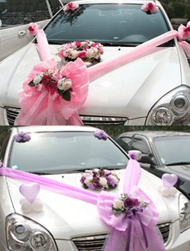 wedding car decorations | Pink and Purple colors of wedding car decorations