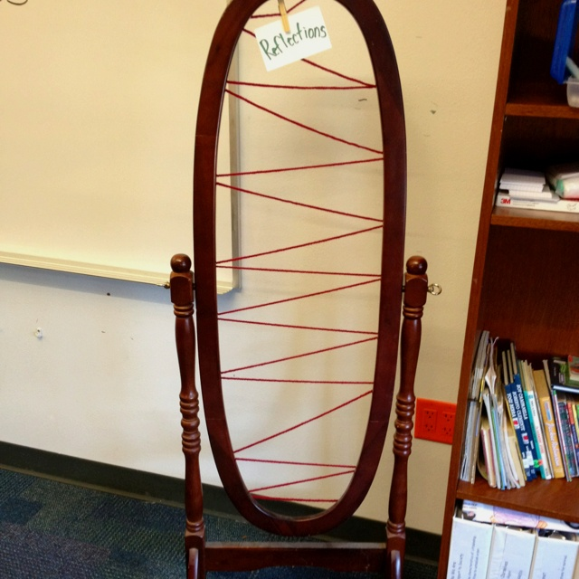 This mirror stand minus the mirror is going to be used for my students to clothespin their reflections written on 3x5 cards up. I strung yarn across the back and you can get mini clothespins from sears for super cheap.Reflections Written, Minis Dog Qu, Super Cheap, Stands Minus, 3X5 Cards, Strung Yarns, Mirrors Stands, Minis Clothespins