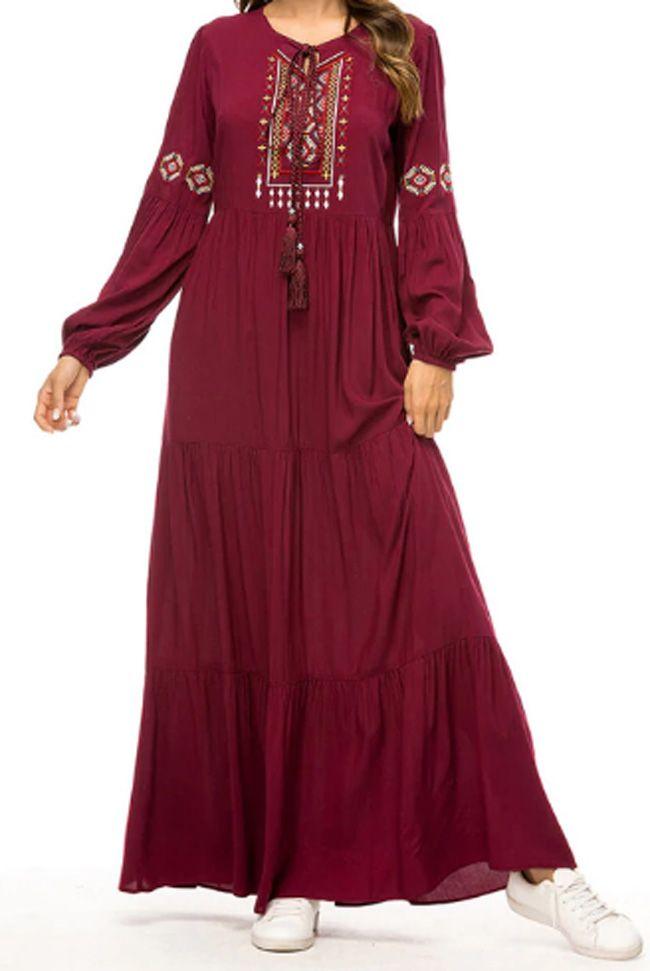Qianliniuinc Women Abaya Kaftan Maxi Dress-Long Sleeve Clothing Dubai Gown Muslim Islamic Dubai Black