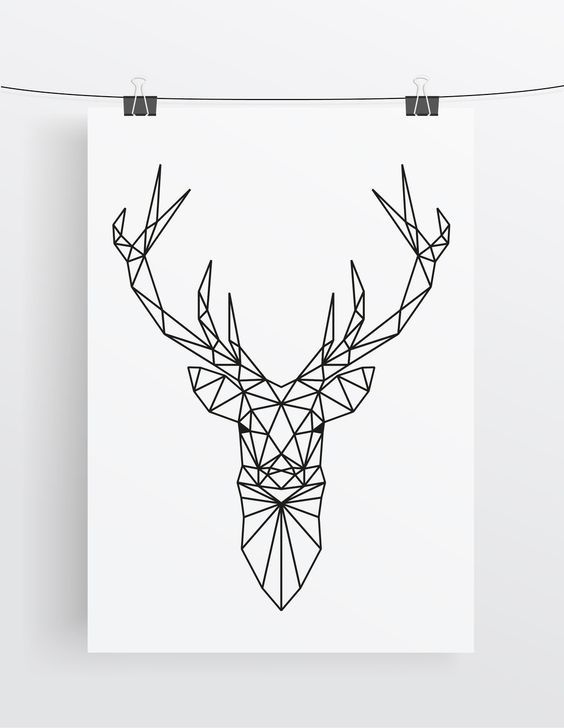 Art Print // Deer // Geometric // Antlers More More