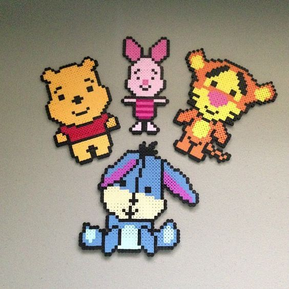 Winnie the Pooh and friends hama perler beads by christina_eats: