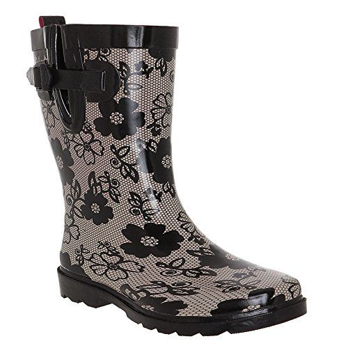 Capelli New York Ladies Shiny Blossom Lace Printed Rubber Rain Boot Grey Combo 6 >>> Details can be found by clicking on the image.