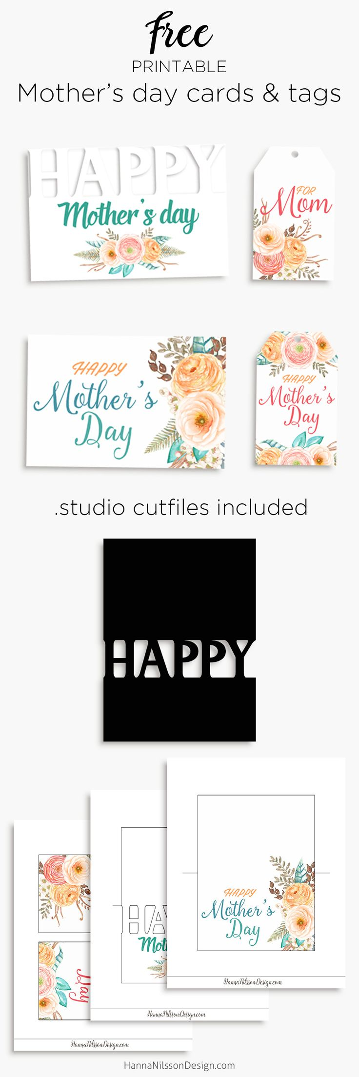 happy mother 39 s day printable cards and tags to celebrate your mom studio print and cut file. Black Bedroom Furniture Sets. Home Design Ideas