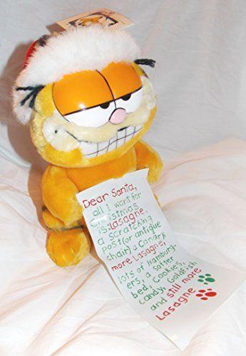 Vintage 8 Plush Garfield the Cat Holding Dear Santa Wish List @ niftywarehouse.com #NiftyWarehouse #Garfield #GarfieldCat #GarfieldTheCat #Comics #JimDavis