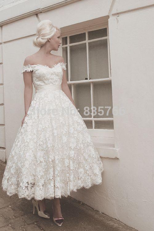 Mi   mollet court complet guipure dentelle inspiré robe avec de l'épaule bretelles robes de mariée dans Robes de mariée de Mariages et événements sur AliExpress.com | Alibaba Group