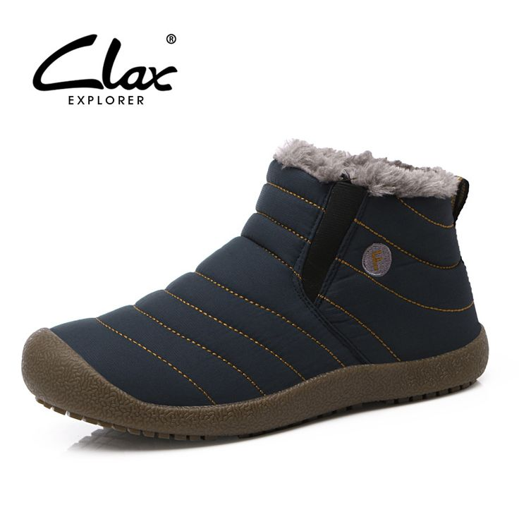 Clax Men Snow Boots Plush 2016 Men's Winter Shoe Waterproof Ankle Boot for Male Fur Warm Outdoor Walk shoes