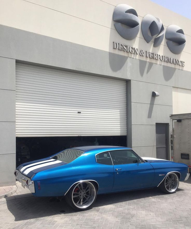 72 chevelle #BecauseSS blue and white. shipped overseas split 5 star wheels brushed 71 kuwait middle east