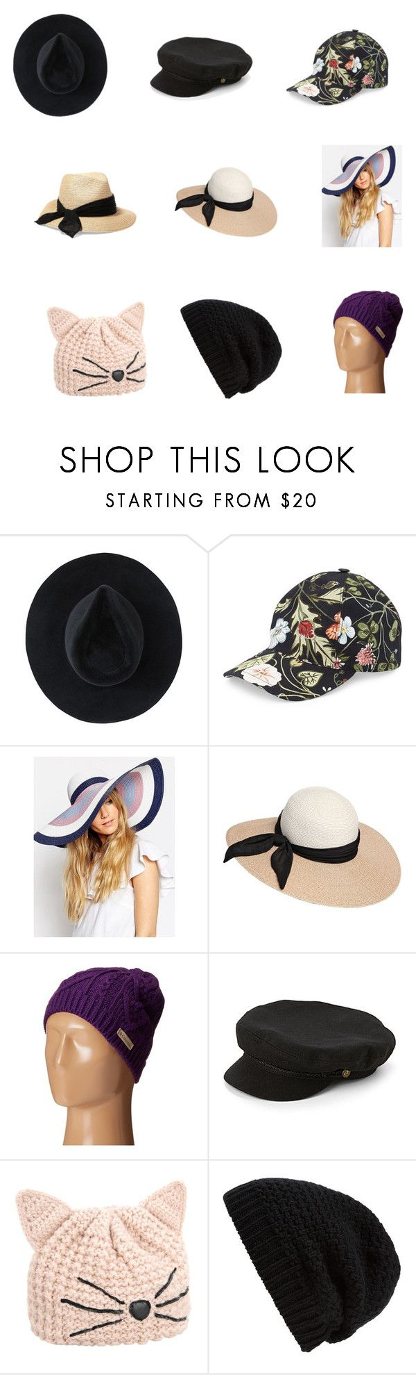 """""""Fav Hats"""" by mooreelizabeth on Polyvore featuring Ryan Roche, Gucci, ASOS, Eugenia Kim, Columbia, Brixton, Karl Lagerfeld and Rick Owens"""