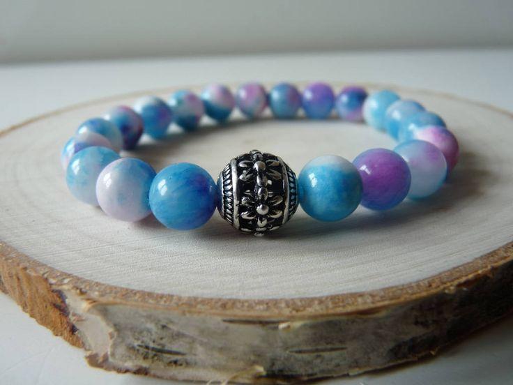Jade bracelet 8mm beads, gemstone bracelet jewelry, stretch beaded bracelet with charm, mala energy reiki chakra by nkcraftstudio on Etsy