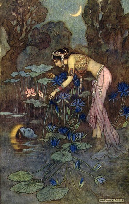 Sita Finds Rama Among Lotus Blooms - Warwick Goble