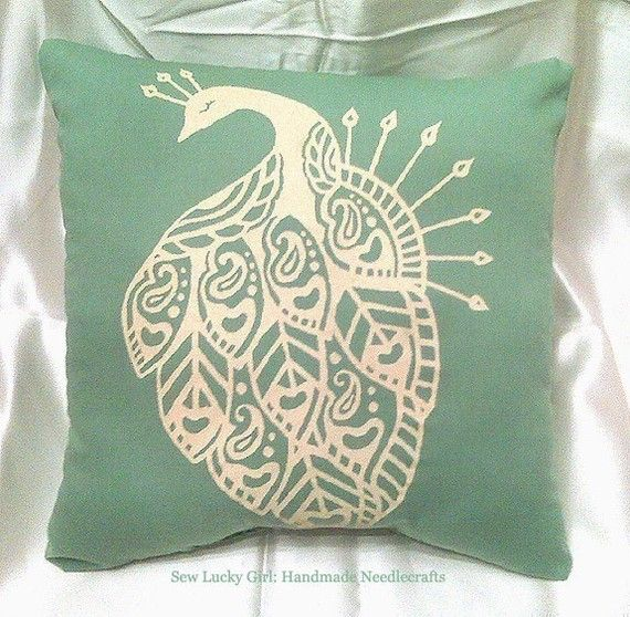 Peacock Pillow-Minty Sage Green and Buttery Ivory Yellow-Retro Hand Silkscreened Pillow-Great for Dorm Rooms, Bedrooms, Couches