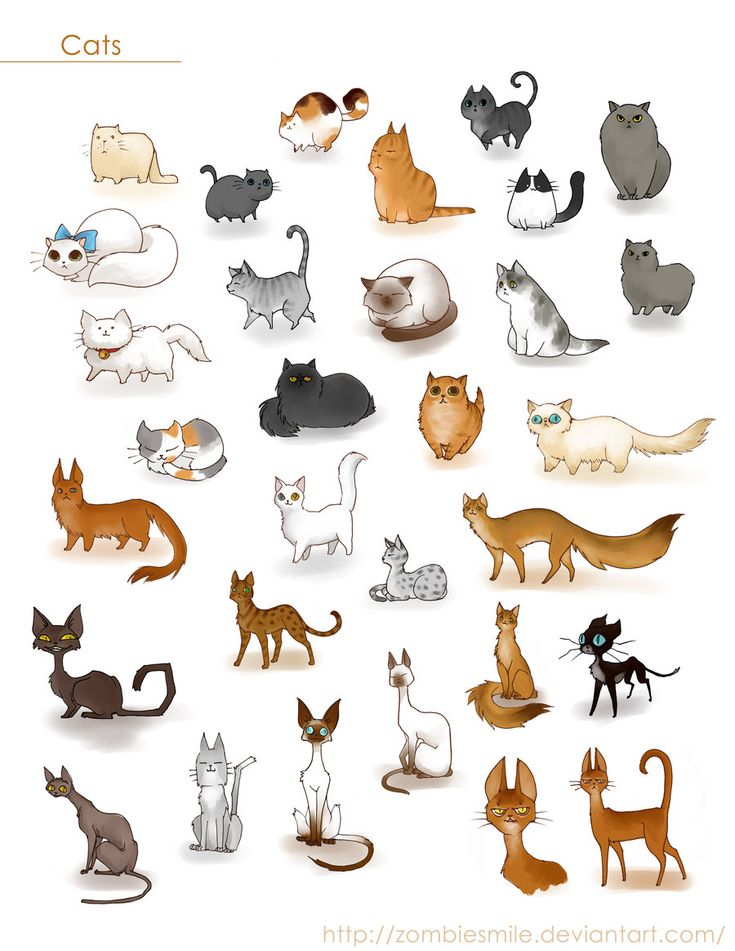 A ton of cats by Zombiesmile.deviantart.com  Love these cute characterizations