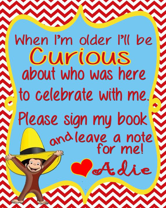 A perfect addition to any Curious George birthday party! When checking out, please be sure to include what your childs name is! :) This is