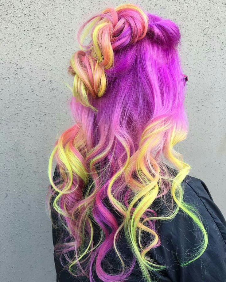 Neon yellow purple dyed hair color inspiration