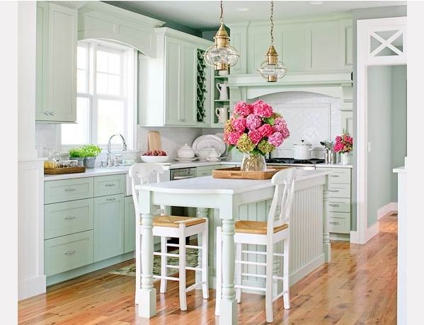 tall table with tall chairs, as kitchen island.  Could we do this?  Maybe swap out legs on current table for taller ones!