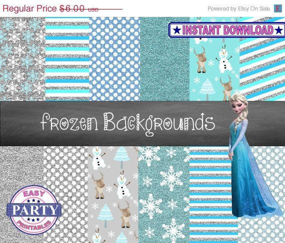 FLASH SALE Frozen Backgrounds Digital by EasyPartyPrintables, $2.11