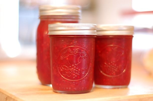 ~~Raspberry Rhubarb Jell-O Jam~~  6 cups fresh rhubarb, stalks cut lengthwise in half and then crosswise into 1/4- to 1/2-inch dice  4 cups granulated sugar  Freshly grated zest and juice from one medium lemon  2 cups raspberries  One (3-ounce) package raspberry-flavored Jell-O