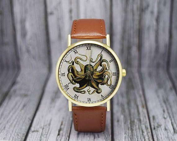 Vintage Octopus Watch Leather Watch Ladies Watch