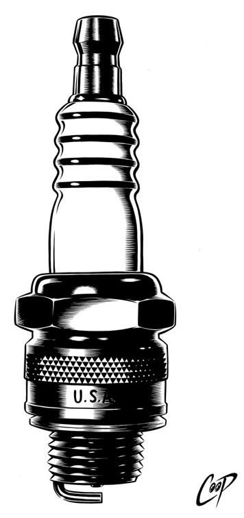 isaidscreamifyouwannagofaster: Spark plug. Art by Coop.