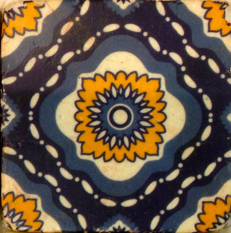 Shades of denim and yellow - symmetrical design, tile style coaster.