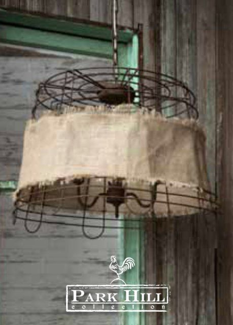 Wire Basket And Burlap Lightfixture Recently Rustic