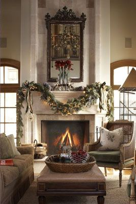 Big fireplace and a garland where is my cup of tea and for Christmas garland on fireplace