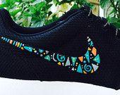 Womens Custom Nike Roshe Run sneakers, triangles, blue, turquoise, pink, gold, yellow, white, grey trendy design, cute tribal design