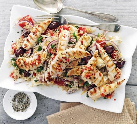 Mediterranean -Griddled chicken with quinoa Greek salad @Michelle Barsell Good Food.com #StomachGrowling