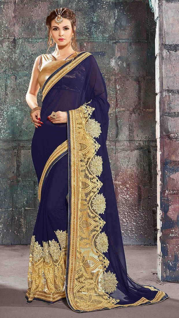 d6ab79cc86225 Blue embroidered georgette saree with blouse in 2019
