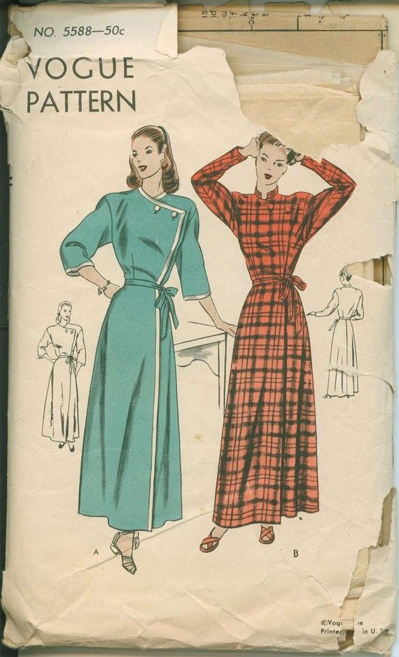 1940s Vogue 5588 House Coat Robe