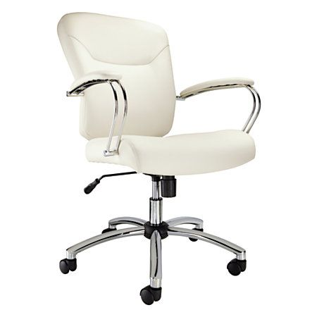Realspace Katarina Manager High Back Chair TaupeSilver Overall Dimensions 40 X 26 29 Faux Leather Upholstery Offers A Modern Sleek Look At Office Depot