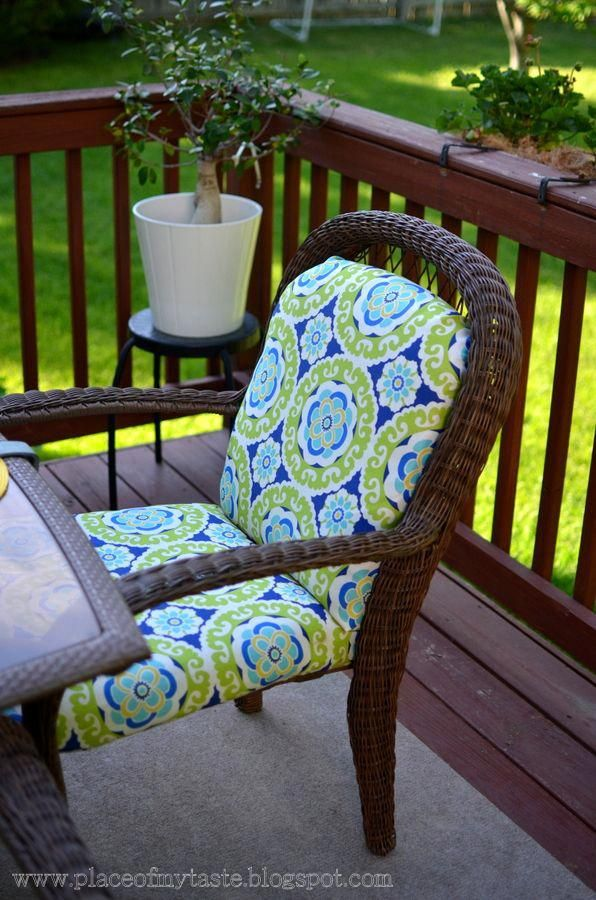 No Sew Re Covered Outdoor Cushions Outdoorchaircushions Chair And Ottoman Pinterest Patio Furniture
