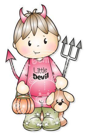 Цифровой (Digi) Дьявол Джош Хэллоуин штамп, маленький мальчик