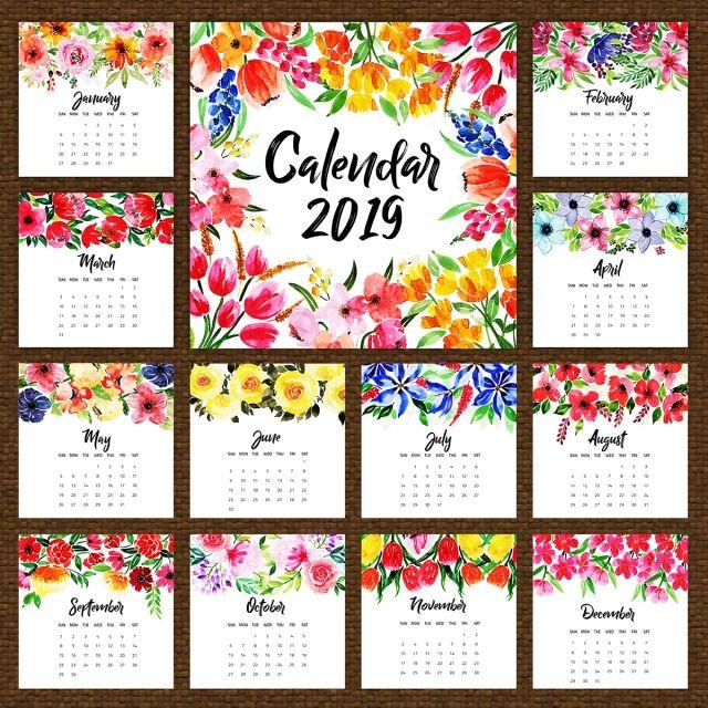 2019 Watercolor Floral Annual Calendar Calendar Flower Calendar