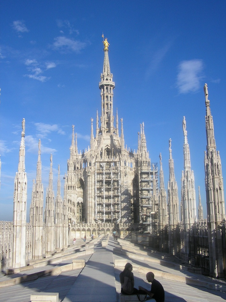 The Milan Duomo!  Up on the roof!