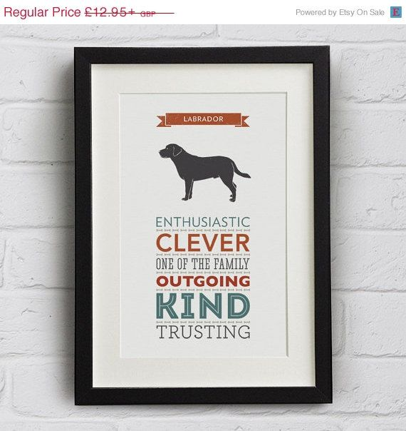 WINTER SALE: Labrador Dog Breed Traits by WellBredDesign on Etsy