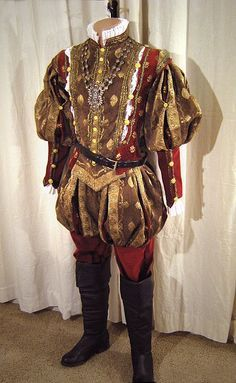 Dressed for court! Handsome men's garb of renaissance style elizabethan tudor tunic ruffle