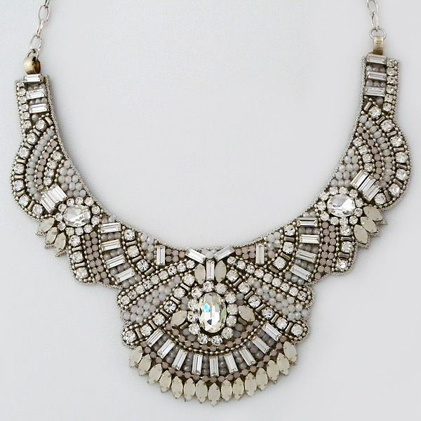 Deepa Gurnani Bridal Jewelry. Classic Indian beaded bridal necklace in bib style with intricate bead work highlighting clear and white opal crystals. $420.  http://perfectdetails.com/NKBR2966.htm