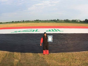 Fareed Lafta set a new world record this week for the largest flag flown while skydiving. (Photo courtesy World Guinness Book Records)