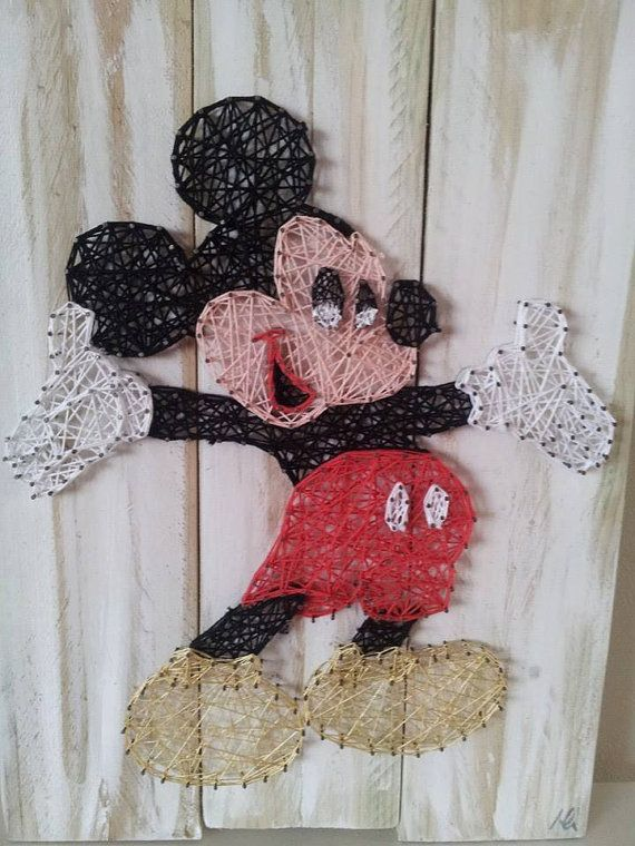 Mickey Mouse string art by AllStrungUpp on Etsy
