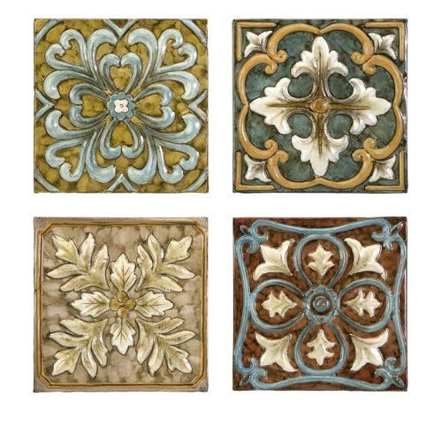 IMAX Casa Medallion Tiles, Set of 4 by IMAX. $59.98. Pattern on each tile is different, and they can be displayed individually or grouped. Set includes four iron wall tiles. Wipe clean with damp cloth. Hand painted with a mediterranean theme and wonderful rich colors. Casa Medallion Tiles, A set of four iron tiles, hand painted with a Mediterranean theme and wonderful rich colors, that can be arranged in infinite combinations.  Each tile is different, but expertly designe...