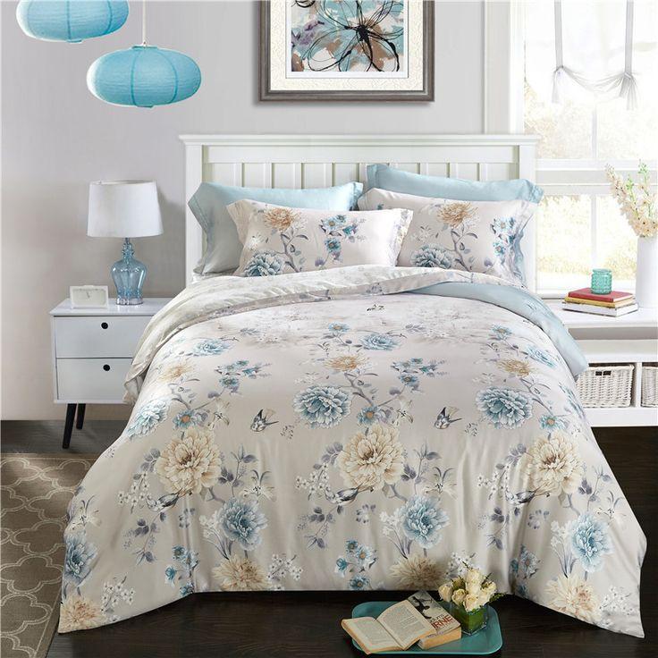 Svetanya 100% polyester Bedlinen Soft and Luxury summer Bedding Set Queen Full King Size Quilt Cover Sets Floral Print #Affiliate