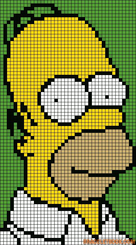 Free Homer Simpson Hama Perler Bead Pattern or Cross Stitch Chart