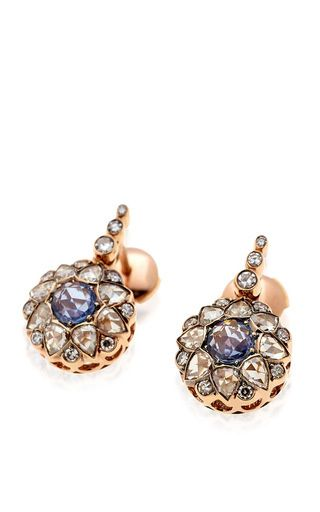 Beirut collection diamond and sapphire earrings by SELIM MOUZANNAR for Preorder on Moda Operandi
